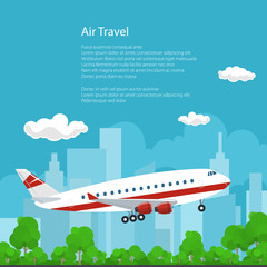 Airplane on the Background of the City Flies to the East and the Text, Air Travel Concept , Brochure Flyer Poster Design, Vector Illustration