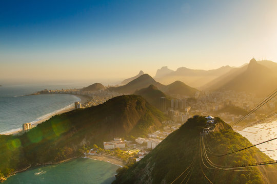 A gorgeous sunset view over Rio de Janeiro from the Sugarloaf mountain
