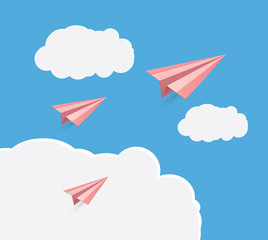 Paper airplane.flying in the sky.vector illustration