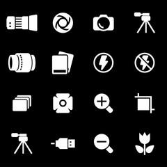 Vector white photo icons set