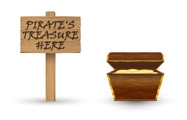 gold pirate treasure with pirate treasure wood board sign