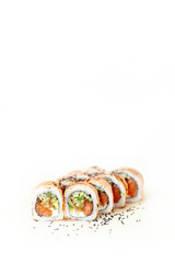 Sushi standing on white background table