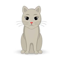 gray cat sitting up. Cartoon mascot. Isolated illustration on white background