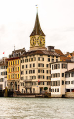 St. Peter church, one of the four main churches of the old town of Zurich, Switzerland