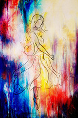 Standing figure woman, pencil sketch on paper. . Color effect.