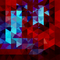 Geometric pattern, triangles vector background in red, blue, black tones. Illustration pattern