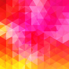 Geometric pattern, triangles vector background in red, pink, orange, yellow tones. Illustration pattern