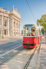 Aluminium Prints Vienna Wiener Burgtheater with traditional tram, Vienna, Austria