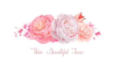 Elegance flowers bouquet of color pink roses and tulip. Composition with blossom flowers branches and lettering.