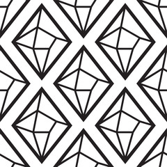 Diamond or crystal seamless pattern. Geometric style on white background