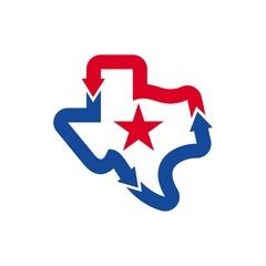 texas map logo vector. arrow logo.