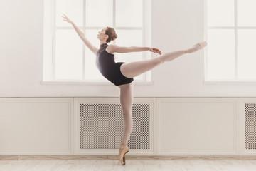 Beautiful ballerina in arabesque ballet position