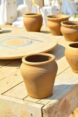 Fresh Clay pots drying in the sun