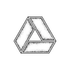 Grunge geometric symbol. Impossible shape. Vector illustration