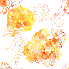 Seamless pattern of sunflowers with watercolor splashes
