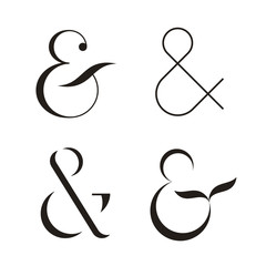 Set of Ampersands, vector illustration. Isolated on white background