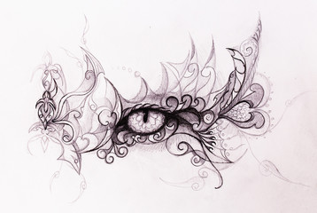 Mystic eye and beautiful ornamental. Drawing on old paper, original hand draw.