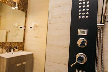 Shower head in the bathroom. Plumbing. Interier hotel