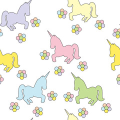 Seamless pattern with unicorns. Vector color picture. Children's drawing.