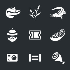 Vector Set of Crocodile farm Icons.