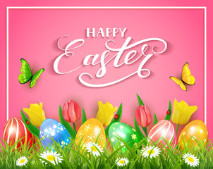 Easter eggs with butterflies and tulips on pink background