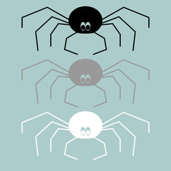 Black grey white spider icon.