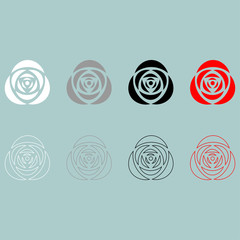 Rose white grey black red icon.
