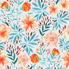 Watercolor ornate flowers seamless pattern.