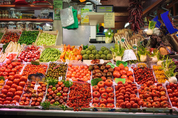 Fresh vegetables like tomatoes and pepper. Organic food.Traditional market.