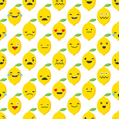 Seamless background with Lemons emotions. Vector illustration.