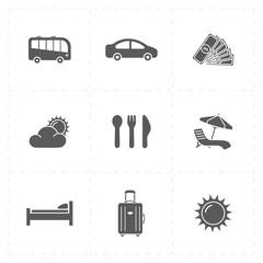 nine flat travel company icons
