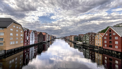 Old store houses on the river Nidelva in Old Town, Trondheim, Norway