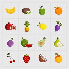 Colorful Fruit Icon Set on White Background