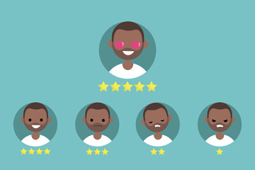 Star rating system. Set of emotional portraits / flat editable vector illustration, clip art