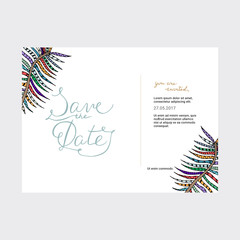 Save the Date card with hand drawn lettering and leaves.