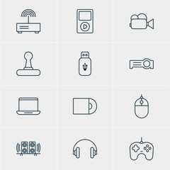 Vector Illustration Of 12 Device Icons. Editable Pack Of Camcorder, Dvd Drive, Headset And Other Elements.