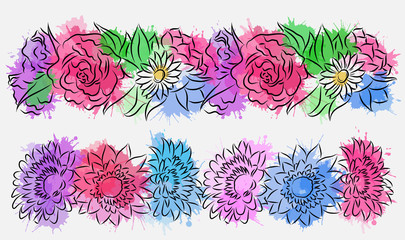 Set of flower brushes with watercolor splashes. Contour drawing. Vector element for your creativity