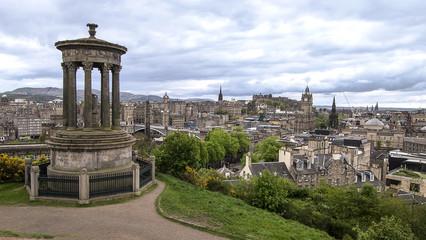 Edinburgh City and Castle viewed from Calton Hill near Dugald Stewart Monument