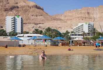 View to the beach of the Dead sea.