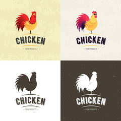 Set of Chicken Farm meat logo, badges, banners, emblem and design elements for food shop and restaurant. Vector illustration.