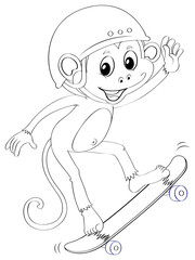 Doodle animal for monkey on skateboard