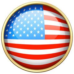 America flag design on round badge