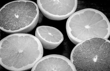 Lemon close up with black and white color