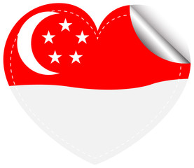 Sticker template for Singapore flag