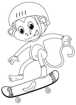 Animal outline for monkey on skateboard