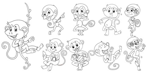 Animal outline for monkeys in different actions
