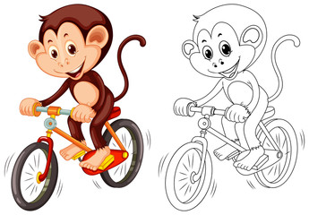 Animal outline for monkey on bike