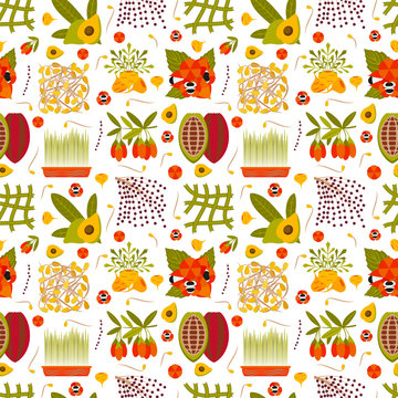Super food icons seamless pattern. Vector illustration.