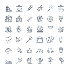 Outline set - theme amusement park icons