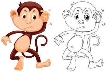 Animal outline for little monkey
